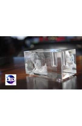 Cube gravé 3D support stylo avec base led