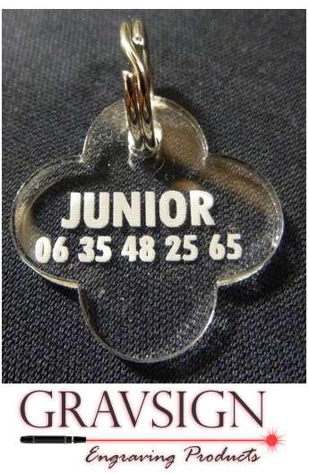 Médaille transparente trefle